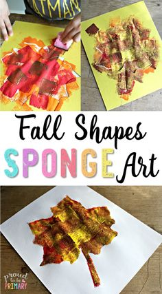 Check out this fall shapes sponge art hands-on activity for children with a few simple materials. Create a fantastic fall display from sponge painting different fall shapes!