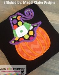 Pumpkin Wearing Witches Hat Applique - 3 Sizes!   What's New   Machine Embroidery Designs   SWAKembroidery.com Jazzy Zebra Designs