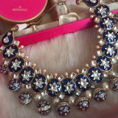 """This wedding season, be party ready with this dazzling minakari blue neckpiece by Ra Abta. Available at Minerali. #minerali_store #raabta #jewellery…"""
