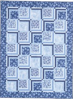 DELICATE DELFT: FREE Easy Lovely Lap Quilt Pattern Designed by TOBY LISCHKO Gather compliments with this lovely easy-to-piece quilt design! Delicate Delft is a wonderful way to showcase fabrics of a single color family, such as the pretty blues in the sample quilt.