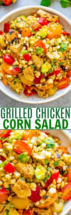 Grilled Corn Salad with Chicken An EASY salad thats ready in 15 minutes and you wont be able to stop eating it! Tender chicken juicy corn crisp bell peppers and tomatoes creamy avocado cilantro and fresh lime juice for the WIN! Corn Salads, Easy Salads, Healthy Salads, Healthy Eating, Healthy Recipes, Healthy Dinners, Cooking Recipes, Mexican Grilled Corn, Grilled Corn Salad