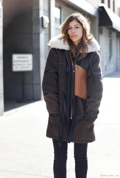 Winter coat, clutch, skinny jeans, New York  / Garance Doré