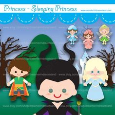 Printable Clipart Clip Art Digital PDF PNG File - Prince Sleeping Princess Witch Raven Godmothers from Wonderful Dreamland on TeachersNotebook.com -  (2 pages)  - baby boy, baby girl, prince, princess, witch, fairy tale