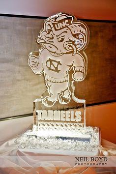UNC Tarheel wedding ice sculpture for wedding reception.  UNC weddings.  Chapel Hill weddings.