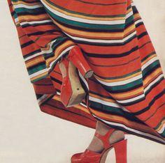 1973 | Sergio Rossi platform shoes  Tailor's BAROCCO as seen at Haute Couture Rome, 1973 Shoe Tailor, Retro Shoes, Sergio Rossi, Platform Shoes, Plaid Scarf, Tights, Shoe Shoe, 1970s, Cinderella