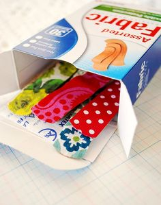 Cute & Easy Fabric/Ribbon Bandaids. I would love to make these for me!!!! I want a pretty bandaid!