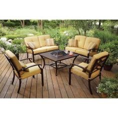 Outdoor Home Patio Dining Firepit Conversation Set Furniture Table Deck 5 Piece