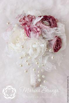 Wedding silk bouquet / Свадебные цветы ручной работы. Свадебный букет в стиле Шебби-Шик. Марина Бруня. Интернет-магазин Ярмарка Мастеров.