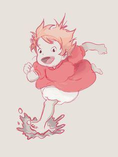 """Ponyo Sketch, ghibli """"Ponyo on the Cliff"""""""