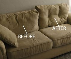 With a needle, thread, a few buttons, and 15 minutes, you can convert your couch cushions from sagging, shapeless sacks to sculpted, snugly supports.H...