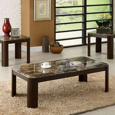 Wow Your Guests Right When They Walk Into The Room With The Telami Accent  Table Set. The Faux Marble Creates A Fun Atmosphere While The Rounded Legs  Provide ...