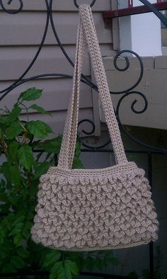 """Crocodile stitch handbag, in Caron Simply Soft, 100% acrylic, in bone. Double straps, approximately 11"""" wide by 8"""" high. The pattern is an eye-catcher! $25, includes US/Canadian shipping. Message for more information or to request this bag. I can also make any bag you see depicted in the color of your choice."""