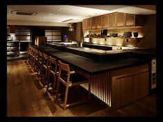 店舗デザイン実績|玄菜壱上 Open Kitchen Restaurant, Restaurant Plan, Japanese Restaurant Interior, Japanese Bar, Japanese Interior Design, Bar Interior, Japan Design, Counter, Modern Kitchen Design