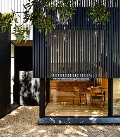 Garth House by OLA Architecture Studio - modern painted timber cladding Timber Battens, Timber Screens, Timber Cladding, Cladding Ideas, Wood Slats, Black Cladding, Privacy Screens, Design Exterior, Facade Design