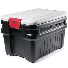 A cheaper alternative to Pelican cases.  Rubbermaid Action Packer - 24 Gallon. Good for emergency supplies in the car