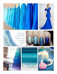 ocean blue ombre wedding color palette inspiration