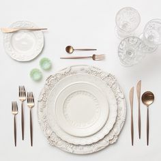 Antique White Florentine Chargers + Vintage White Collection China + Rose Gold Flatware + Early American Pressed Glass/Coupe Trios + Jadeite Salt Cellars | Casa de Perrin Design Presentation