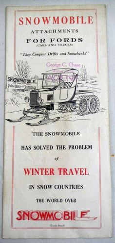 Model T Ford: Snowmobile Attachments For Ford Cars And Trucks. Vintage Ad