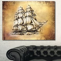 Moving Wall Art designart designart 'moving old sailboat drawing' seashore wall