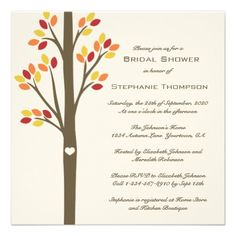 Autumn Trees Bridal Shower Personalized Invite