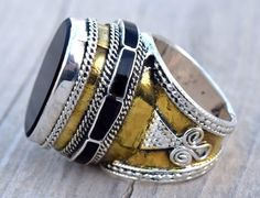 SilverGold Plated Turkmen RingTribal RingBlack by CraftEastShop