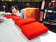 Upholstery in its final phase. True to Osvaldo's original Red colour. Red Colour, Tecno, Upholstery, The Originals, Chair, Furniture, Design, Home Decor, Stool