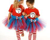 Dr. Seuss Party Theme: Tutu Skirt Halloween or Birthday (Sadie wore a Thing 1 onesie, hubby wore a Thing 2 t-shirt)
