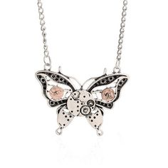 Vintage Steampunk Necklace Antique Butterfly Clock Pendant Mechanical Gear Chain Necklace Fashion Jewelry For Men Women