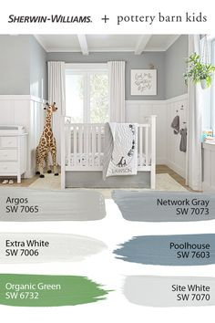Give your nursery an adorable new look with paint from Sherwin-Williams. Tap this pin to explore the @potterybarnkids Spring/Summer 2020 palette featuring colors that can grow along with your little ones. #sherwinwilliams #potterybarn #potterybarnkids #pbkids #kidsroom #decor #design #paintinspo #diy Boys Bedroom Colors, Nursery Paint Colors, Baby Room Colors, Paint Colors For Home, House Colors, Paint Colours, Pottery Barn Nursery, Pottery Barn Kids, Pottery Barn Paint Colors
