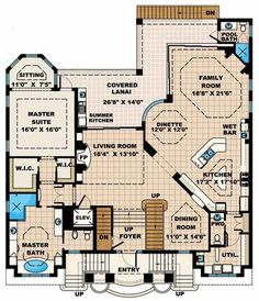Coastal Style House Plans - 4735 Square Foot Home, 3 Story, 4 Bedroom and 1 3 Bath, 4 Garage Stalls by Monster House Plans - Plan 55-177