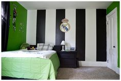Boys soccer bedroom with black stripes