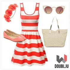 Doublju Women Sleeveless Stripe A-Line Flare Dress #doublju #doubljuwomen #fashion #womensstyle #summerstyle #spring #dailylook #skirt #dress #sleeveless #stripe #A-Line #Flare #Dress