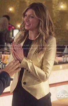 Josslyn's gold blazer on Mistresses Rochelle Aytes, Yunjin Kim, Jes Macallan, Gold Blazer, Alyssa Milano, Mistress, Tie Dye, Leather Jacket, My Style