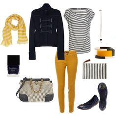 mustard and navy