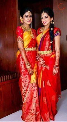 Ideas for bridal saree red hair Pattu Saree Blouse Designs, Half Saree Designs, Blouse Designs Silk, Bridal Blouse Designs, Bridal Silk Saree, Saree Wedding, Wedding Blouses, Bridal Lehenga, South Indian Bride