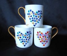 painted mug. could use a stamp for kids to make hearts