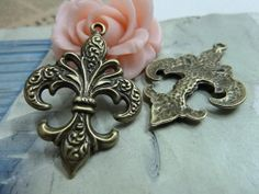 20pcs 27x38mm Antique Bronze Artistic Lily Charms Pendants Links Connectors Jewelry Accessories ABC1060
