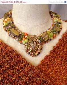 ON SALE Bead Embroidered Collar Scarab and Raw by bjswearableart, $75.00