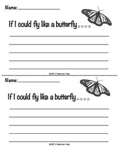 If you were a butterfly... what would you do?These writing prompts are creative sentence starters to get imaginations flowing.  Based on the life cycle of a monarch butterfly, there are several prompts inspired by each stage of a butterfly's life: from egg-caterpillar-chrysalis-butterfly.This set includes:15 Butterfly themed writing prompts   }i{INCLUDED in the Butterfly Life Cycle Activity Bundle.