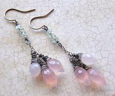 ❥ Rose Quartz Earrings, Pink Chandelier Earrings, Quartz Drop Earrings, Green Amethyst Earrings