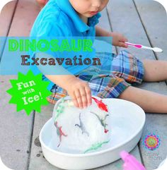 Outlaw Mom Fun With Ice Dinosaur Excavation. She also has many more great activities to do with kids.