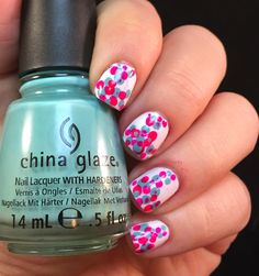 52 Week Challenge Presents Dotting Tools and Pink and Aqua @chinaglaze #pinknails #aquanails #dotnails
