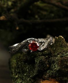 Braided branch engagement ring with garnet by WeddingRingsStore Unique silver twig ring Garnet branch engagement ring Womens twig ring Unusual ring