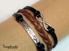 Black and Brown Love Eternity Bracelet Leather by Tangolunda Gifts.$9.50 Click today to see details.