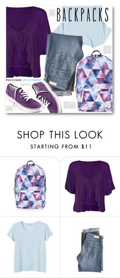 """""""Cool Backpacks"""" by brendariley-1 ❤ liked on Polyvore featuring Accessorize, WearAll, Monki, AG Adriano Goldschmied, Vans, backpacks, contestentry and PVStyleInsiderContest"""