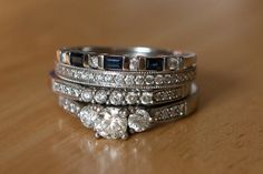 ANNIVERSARY BANDS STACKED WITH WEDDING SET.  LOVE THIS    Ring stack by tarastarphotography, via Flickr