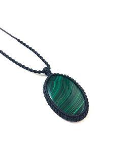 Malachite macrame necklace, Natural Malachite stone, Macrame necklace, Rustic necklace, Green gemstone, Mens necklace, Macrame jewelry, Gift by SPIRALICA on Etsy
