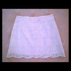 Lilly pulitzer white eyelet skirt NWOT white eyelet skirt by Lilly Pulitzer! Gorgeous! Never worn. Lilly Pulitzer Skirts