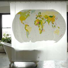 Izola World Map Peva Shower Curtain Cool Shower Curtains, Bathroom Shower Curtains, Bath Shower, Curtain World, Urban Outfitters, Door Murals, Burke Decor, Home Decor Online, Pottery Barn