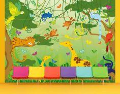 Tapete Kinderzimmer - selbstklebende Tapete - Fototapete Wald No.IS87 Dschungelspiel